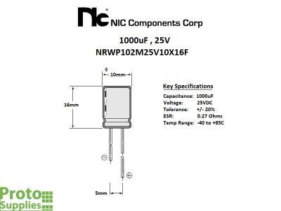NIC 1000uF 25V Details
