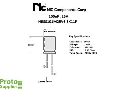 NIC 100uF 25V Details