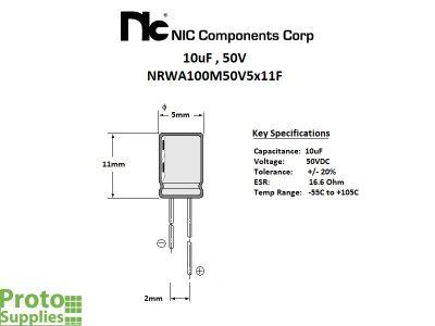 NIC 10uF 50V Details