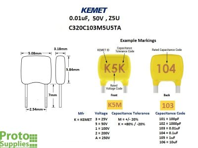 KEMET MLCC 0.01uF 50V Details