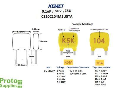 KEMET MLCC 0.1uF 50V Details