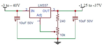 LM337 Example Schematic