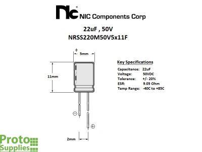 NIC 22uF 50V Details