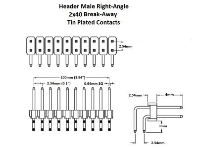 Header Male Right Angle 2x40 Tin Details