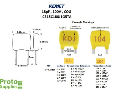 KEMET MLCC 18pF 100V COG Details