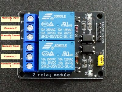 Relay Module 2 x 5V - Top View