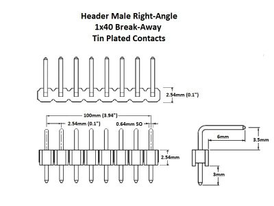 Header Male Right Angle 1x40 Tin Details