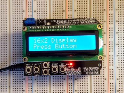 LCD1602 Blue Shield with Buttons - Operation