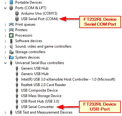 Device Manager FT232RL