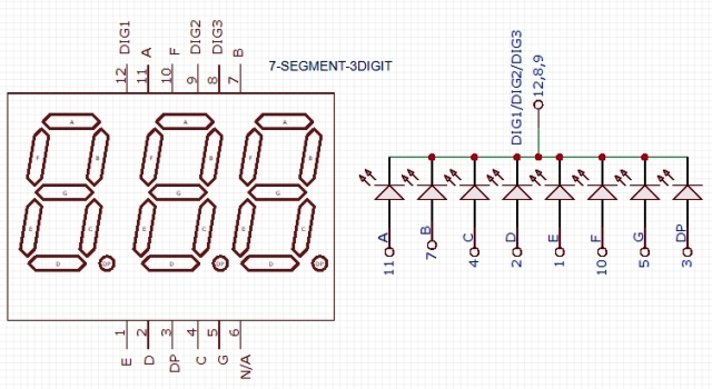 7-Segment 3 Digit CC LED Module