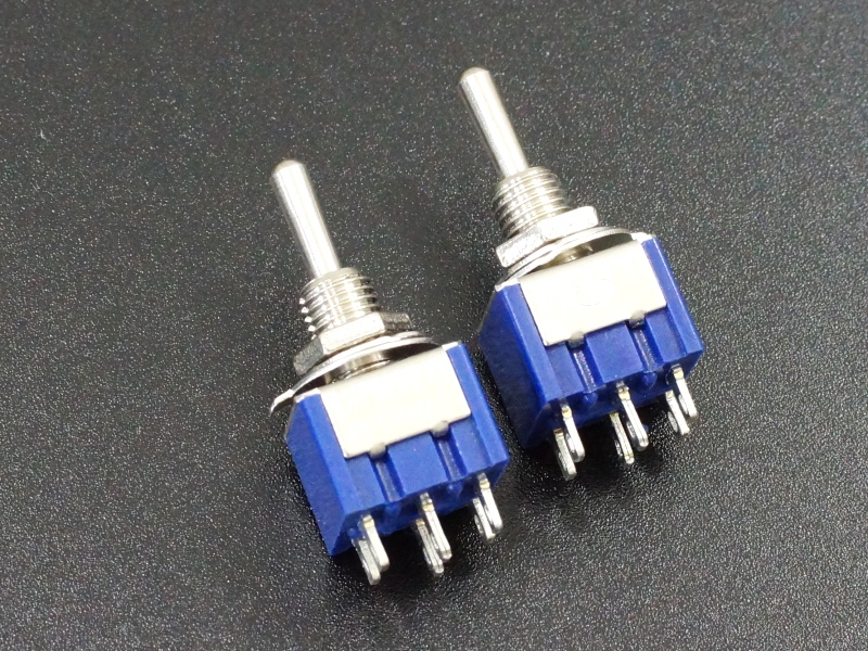 Miniature Toggle Switch DPDT ON-OFF-ON 6A 2-Pack