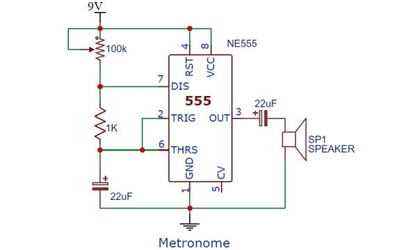 NE555 Metronome Schematic