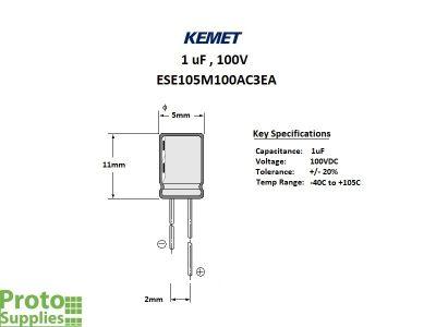 KEMET 1uF 100V Elect Details