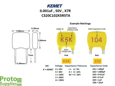 KEMET MLCC .001uF 50V X7R Details