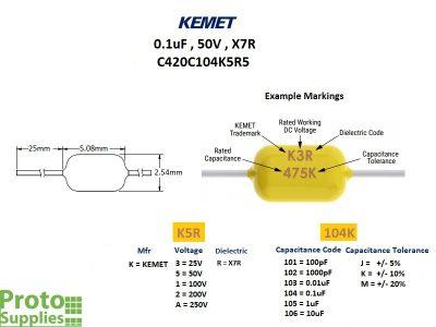 KEMET MLCC 0.1uF 50V X7R Axial Details