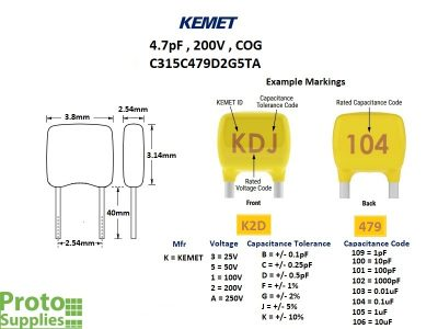 KEMET MLCC 4.7pF 200V COG Details