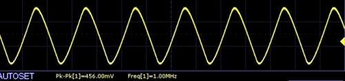 AD9833 Scope Capture 1MHz triangle wave