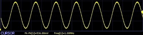 AD9833 Scope Capture 1Mhz sinewave