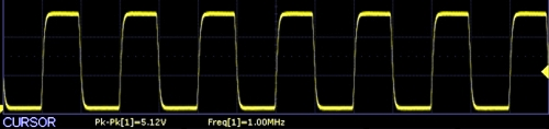 AD9833 Scope Capture 1Mhz squarewave