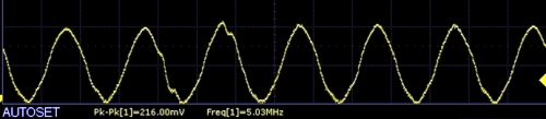 AD9833 Scope Capture 5Mhz sinewave