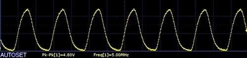 AD9833 Scope Capture 5Mhz squarewave