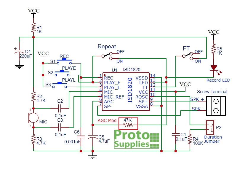 ISD1820 Voice Record and Playback Module  ProtoSupplies