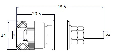 Banana Socket Binding Post, Panel Mount, 24A - Dimensions