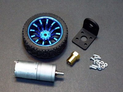 DC Geared Motor and Wheel Kit, 3-9V, 77RPM