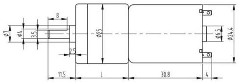 JGA25-370 6V DC Gear Motor 77 RPM - Motor Dimensions 1