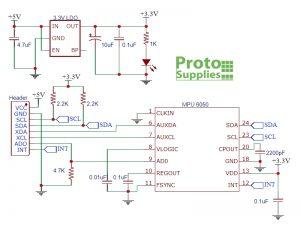 MPU 6050 GY-521 Accelerometer Schematic