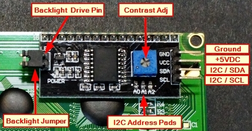 LCD I2C Daughter Board - Connections