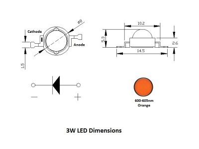 LED 3W Dimensions - Orange
