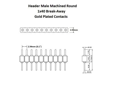 Header Male Machined Round 1x40 Gold Details