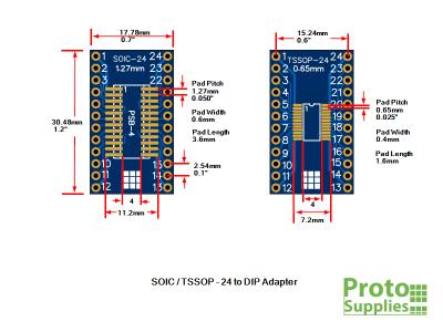 PSB-4 SOIC TSSOP 24-Pin Adapter Dimensions