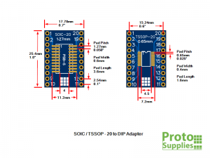 PSB-5 SOIC TSSOP 20-Pin Adapter Dimensions