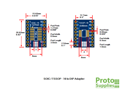 PSB-6 SOIC TSSOP 16-Pin Adapter Dimensions
