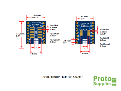 PSB-7 SOIC TSSOP 14-Pin Adapter Dimensions