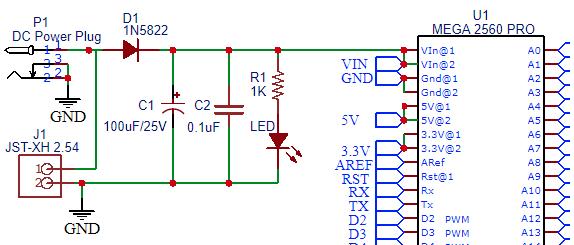Mega 2560 Pro MCU - DC Input Schematic