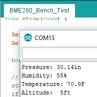 BME280 Test Output