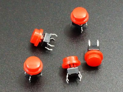 Tactile Pushbutton Red 6mm - 5 Pack