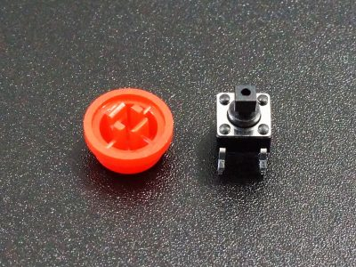Tactile Pushbutton Red 6mm - Disassembled