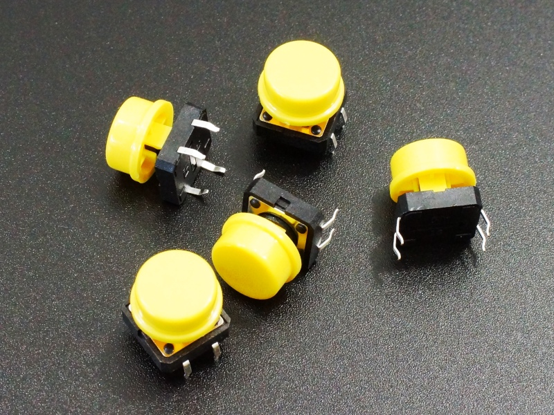 Tactile Pushbutton Yellow 12mm - 5 Pack