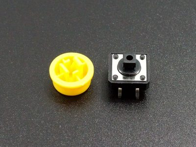 Tactile Pushbutton Yellow 12mm - Disassembled