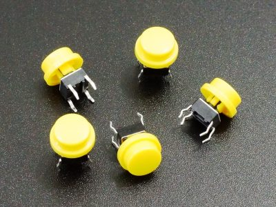 Tactile Pushbutton Yellow 6mm - 5 Pack