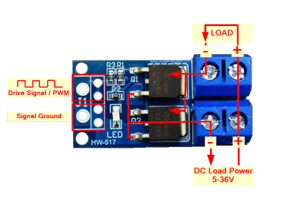 High Power Dual MOSFET Switch Module - Connections