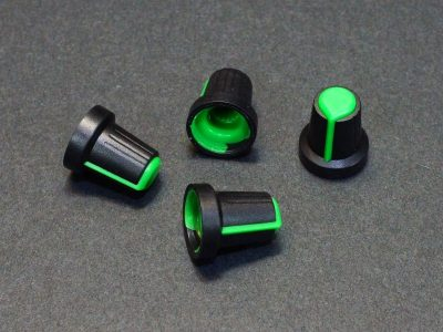 Potentiometer Control Knob Green Plastic - Qty 4
