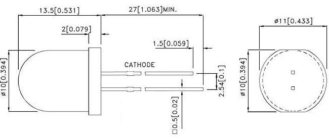 LED 10mm Dimensions