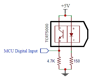 TCRT5000 Refective IR Sensor Schematic