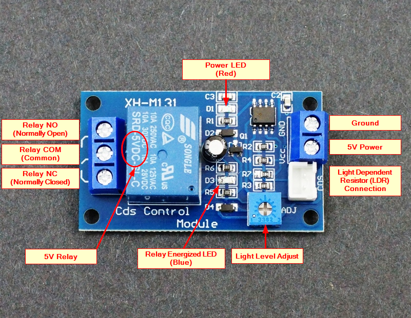 Light Sensitive LDR Relay Module 5V - Connections
