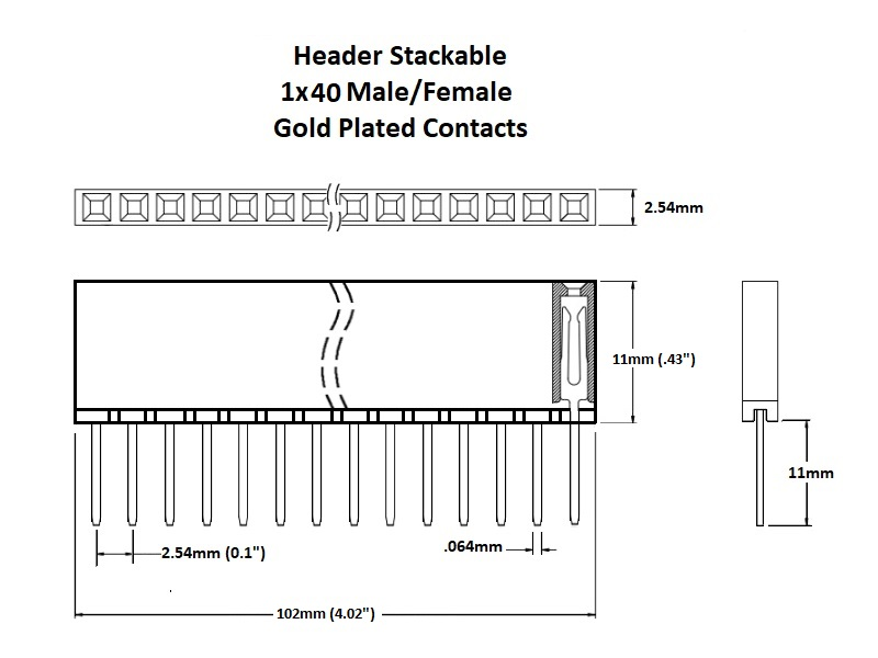 Header Stackable 1x40 Gold Details